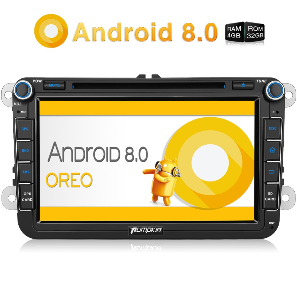 Citrouille 2 Din 8 ''Android 8.0 Autoradio Lecteur DVD GPS Navigation Pour VW/Skoda/Seat/Golf Voiture DVR 4 GB RAM Wifi 4G FM Radio stéréo