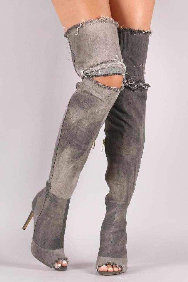 Vintage Denim Peep Toe High Heel Over the Knee Botas Mujer Cut-outs Thigh High Boots Spring Autumn Party Dress Shoes Women