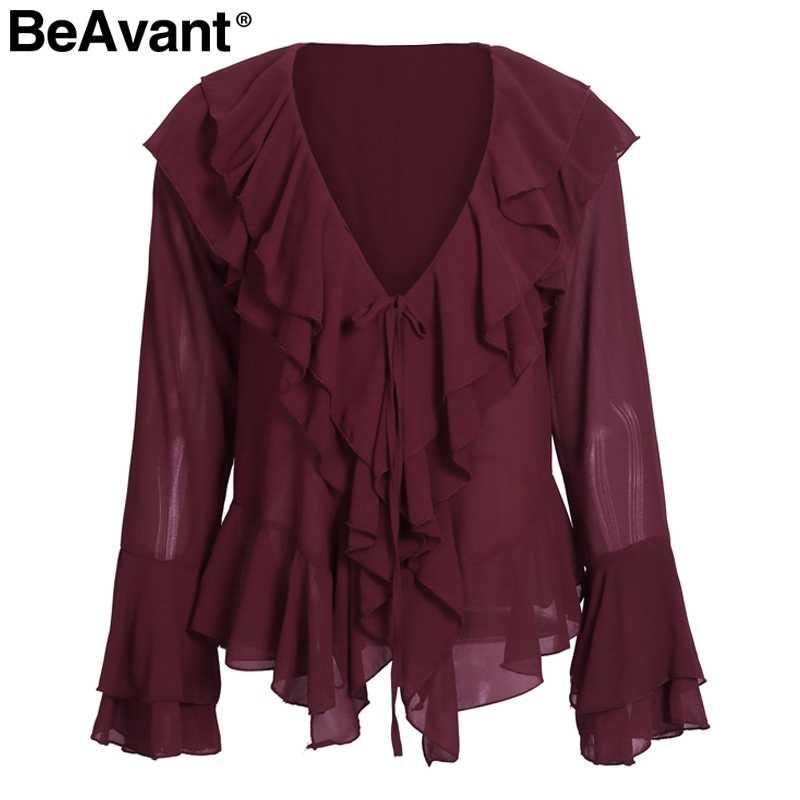 BeAvant элегантная шифоновая блузка с оборками рубашка Женский Повседневный стиль, расклешенный рукав летние блузки-топы 2018 уличная женская блуза