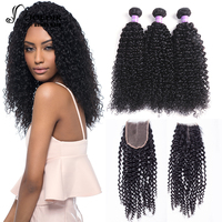Joedir Kinky Curly Weave Human Hair Bundles With Lace Closure Non Remy Malaysian Hair Weave 3 Bundles With Closure Free Shipping