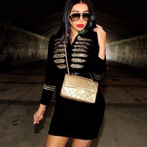 Image 3 - Seamyla 2020 yeni kadın bandaj elbise Vestidos moda nakış ünlü parti elbise seksi siyah Bodycon pist kulübü elbiseler