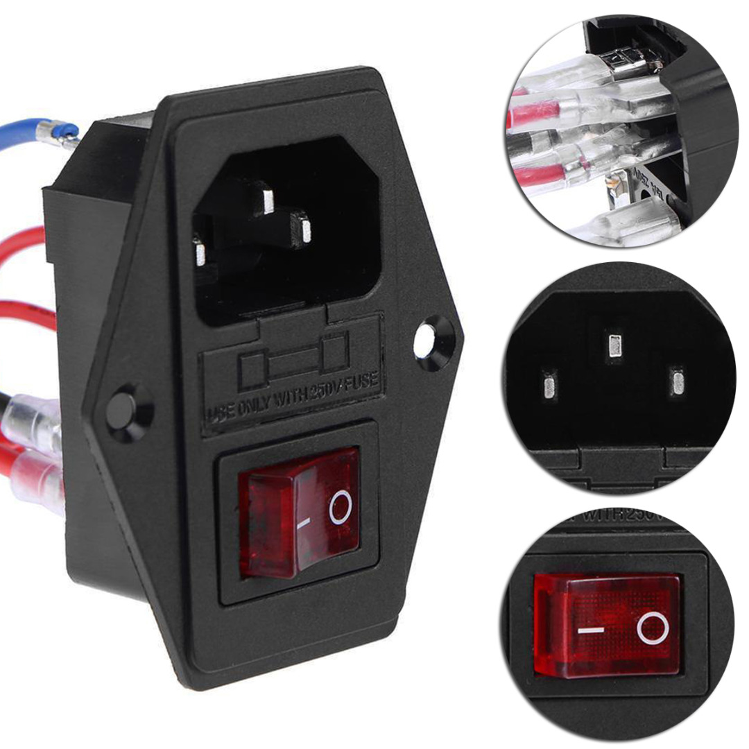220V//110V Power Switch Plastic Triple Outlet Socket with Fuse for 3D Printer