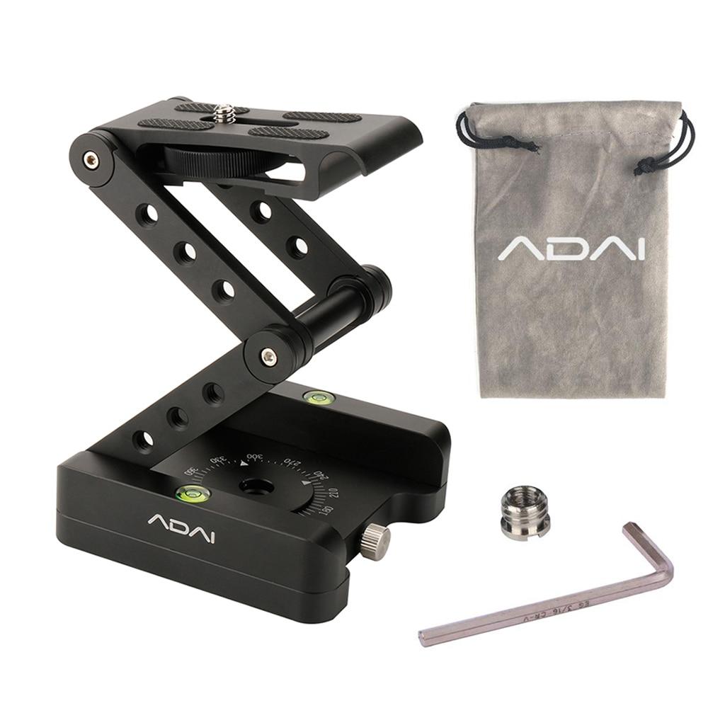 ADAI 360 aluminium pliant Z Flex inclinaison tête panoramique trépied tête à billes plaque de dégagement rapide support de caméra pour Nikon Canon DSLRs curseurs
