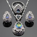Multicolor Blue Rainbow Zircon Silver Color Jewelry Sets For Women Hoop Earrings Necklace Pendant Rings Free Gift Box