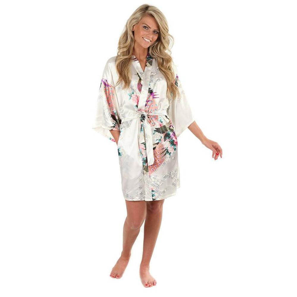 Sexy White Printed Female Mini Silk Robe Rayon Kimono Yukata Night Dress Gown Flower &Peacock S M L XL XXL XXXL A108