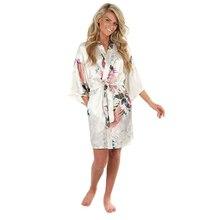 цена Sexy White Printed Female Mini Silk Robe Rayon Kimono Yukata Night Dress Gown Flower &Peacock S M L XL XXL XXXL A108 онлайн в 2017 году