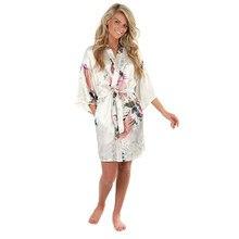 cb05e7ea296 Sexy blanc imprimé femme Mini Robe en soie rayonne Kimono Yukata Robe de  nuit Robe fleur