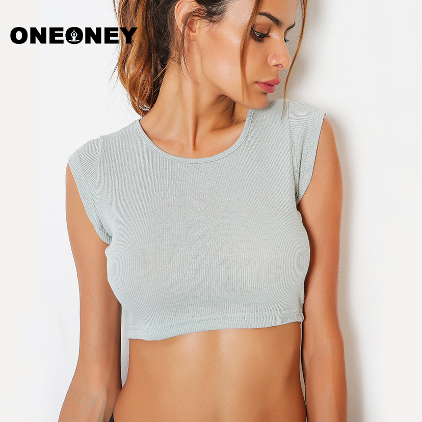 f8046673f4f44 Sexy Women Out Sleeveless Yoga Shirts Female Cute Sports Crop Top Fitness  Gym Running Jogging Vest Solid Tank Sport Top Grey