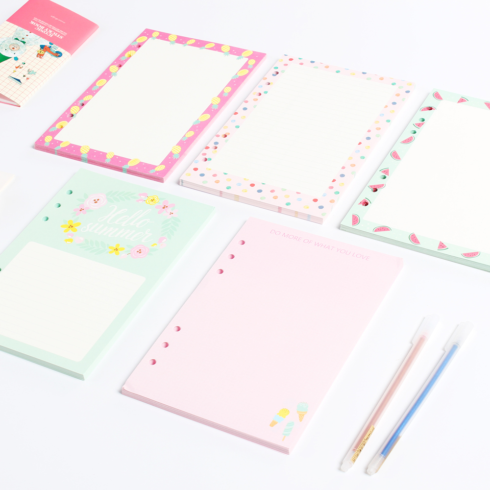 Cartoon 6 Holes Common Replacement Inner Paper Core For Spiral Notebooks,cute Creative Notebook Refilling Paper 4 Kinds A5 A6