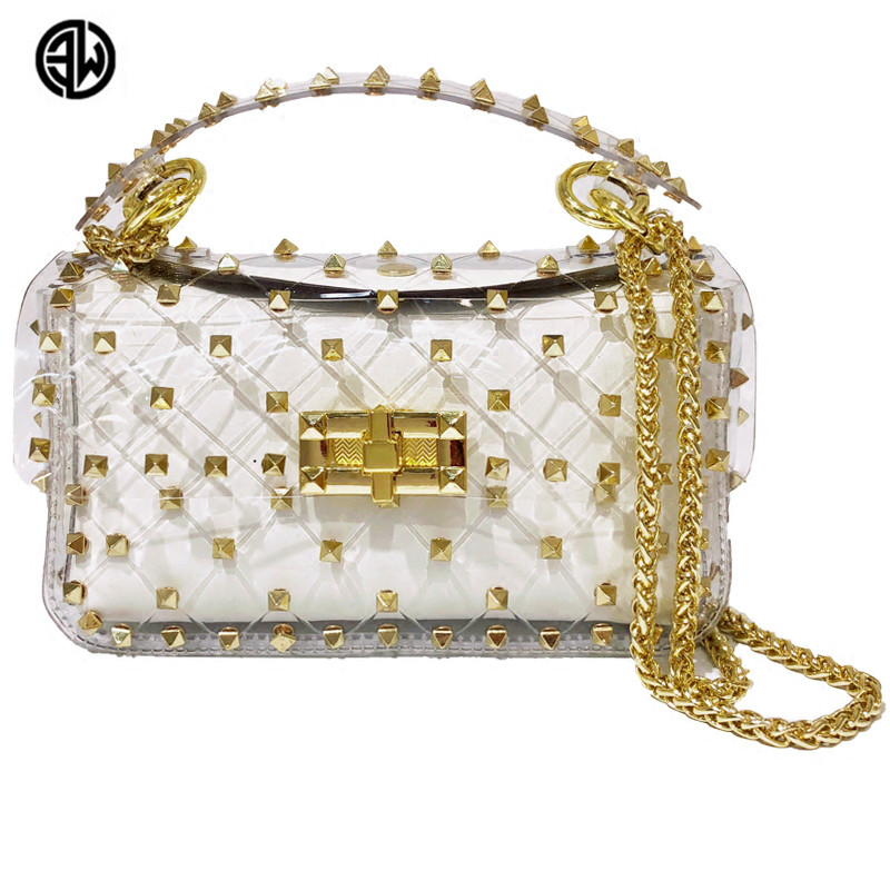Latest Hot Transparent Women Shoulder Cross Body Bag with Stud Decoration Gold Metal Chain Strap Inner Bag Luis Vuiton gg bag cut out shoulder bag with inner pouch