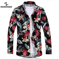 Homens camisa floral estilo seaside resort casuais longo-sleeved camisa 2017 dos homens da marca de impressão de negócios camisa Magro plus size tamanho 6XL 7XL