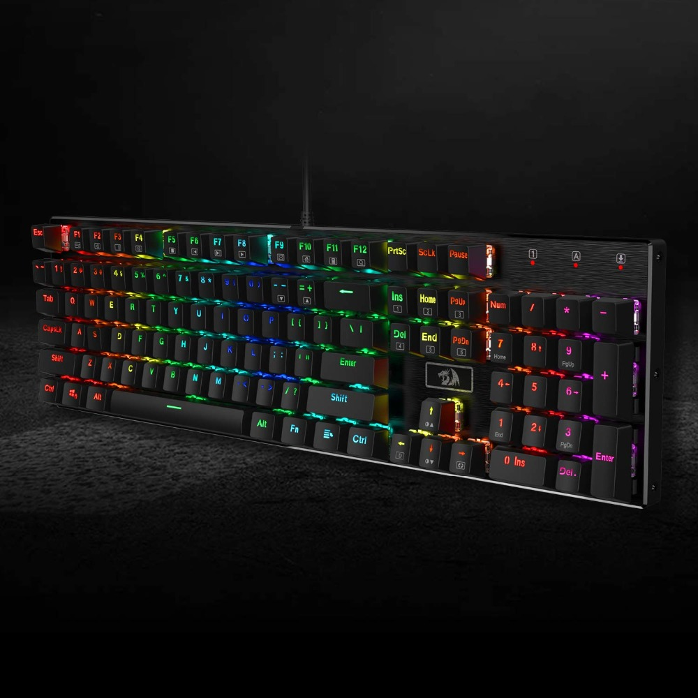 K556 Wired Mechanical Gaming Keyboard RGB LED Backlight 104 Standard Keys