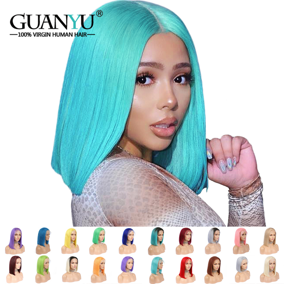 Wigs Human-Hair-Wigs Blonde Lace-Front Burgundy Colored Purple Ombre Yellow Honey Blue