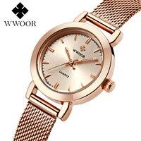WWOOR Brand Casual Ladies Women Dress Watches Thin Quartz Watch Steel Mesh Band Luxury Gold Bracelet