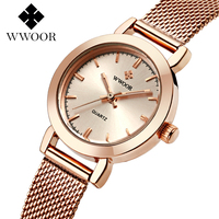WWOOR Brand Casual Ladies Women Dress Watches Thin Quartz Watch Steel Mesh Band Luxury Gold Bracelet