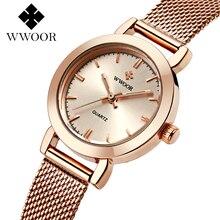 WWOOR Brand casual Ladies Women Dress Watches Thin Quartz Watch Steel Mesh Band Luxury Gold Bracelet Wristwatch Relogio Feminino