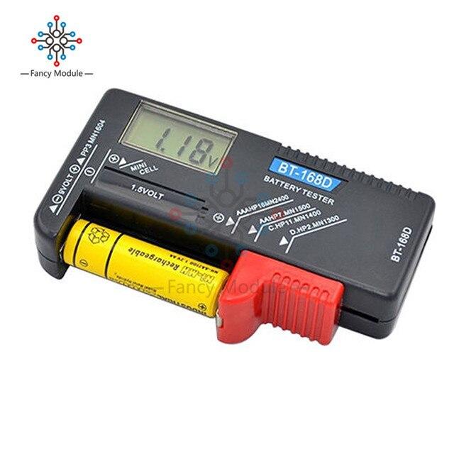 BT 168 LED Universal Digital LCD Battery Checker Volt Tester Cell AA AAA C D 9V 1.5V Button