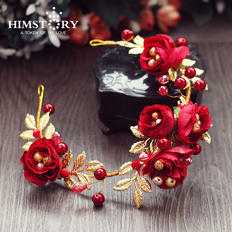 HIMSTORY ANew Designs Handmade Red Rose Flower Gold Leaf Pearl Bridal Hair Jewelry Bride Hair Accessories Wedding Headpieces ...