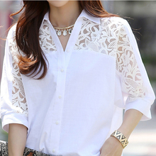 Women 3/4 Sleeves Chiffon Blouses Plus Size Large Shirt White Lace Top 2019 Korean Fashion Tunic Clothing Autumn Summer Casual недорго, оригинальная цена