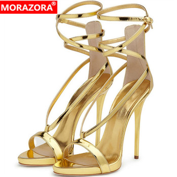 MORAZORA 2019 newest women gladiator sandals pu ankle buckle solid colors sexy thin high heels shoes party wedding shoes woman