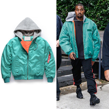 2017 NEW TOP hiphop Fashion KANYE WEST oversized MA-1 Men jacket zipper jackets coat blue S-XXL