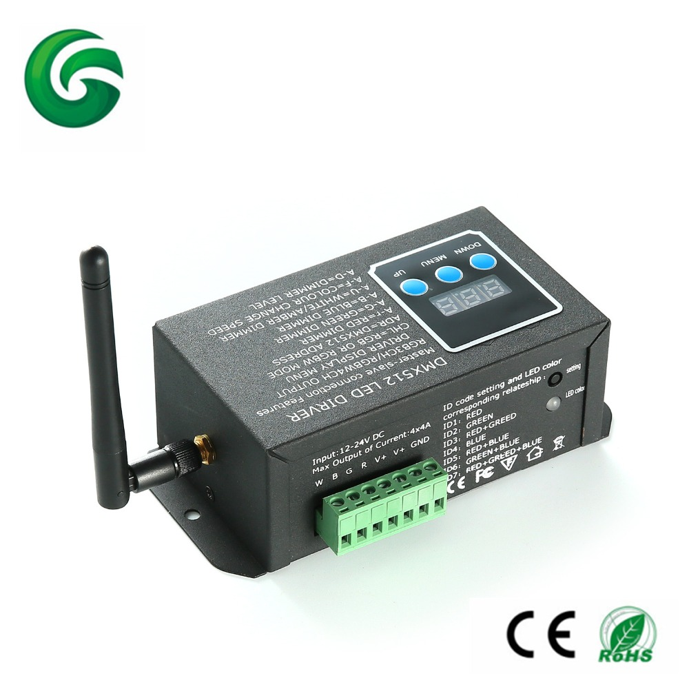 dc12 24v wireless dmx rgbw and rgb led controller with. Black Bedroom Furniture Sets. Home Design Ideas
