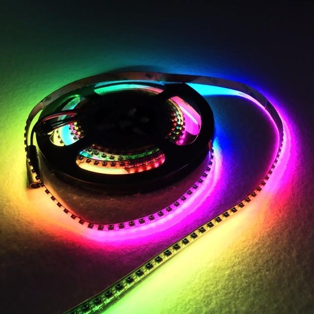 3m m/rulo 144 LEDs/m DC5V SK6812 4020 yan yayan adresli LED esnek şerit, su geçirmez olmayan; IP33; siyah pcb