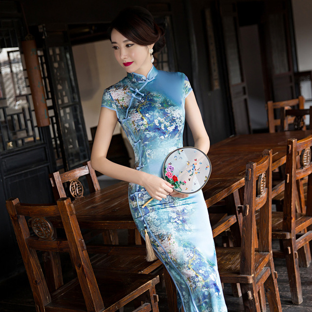 4aaa2aecb New Classic Style Satin Cheongsam Vintage Chinese Women's Long Qipao Dress  Flower Mujer Vestido Size S M L