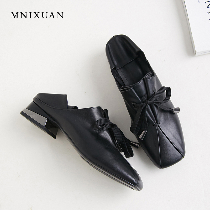 MNIXUAN Neutral retro women office lady shoes 2019spring new comfortable square toe real leather lace up