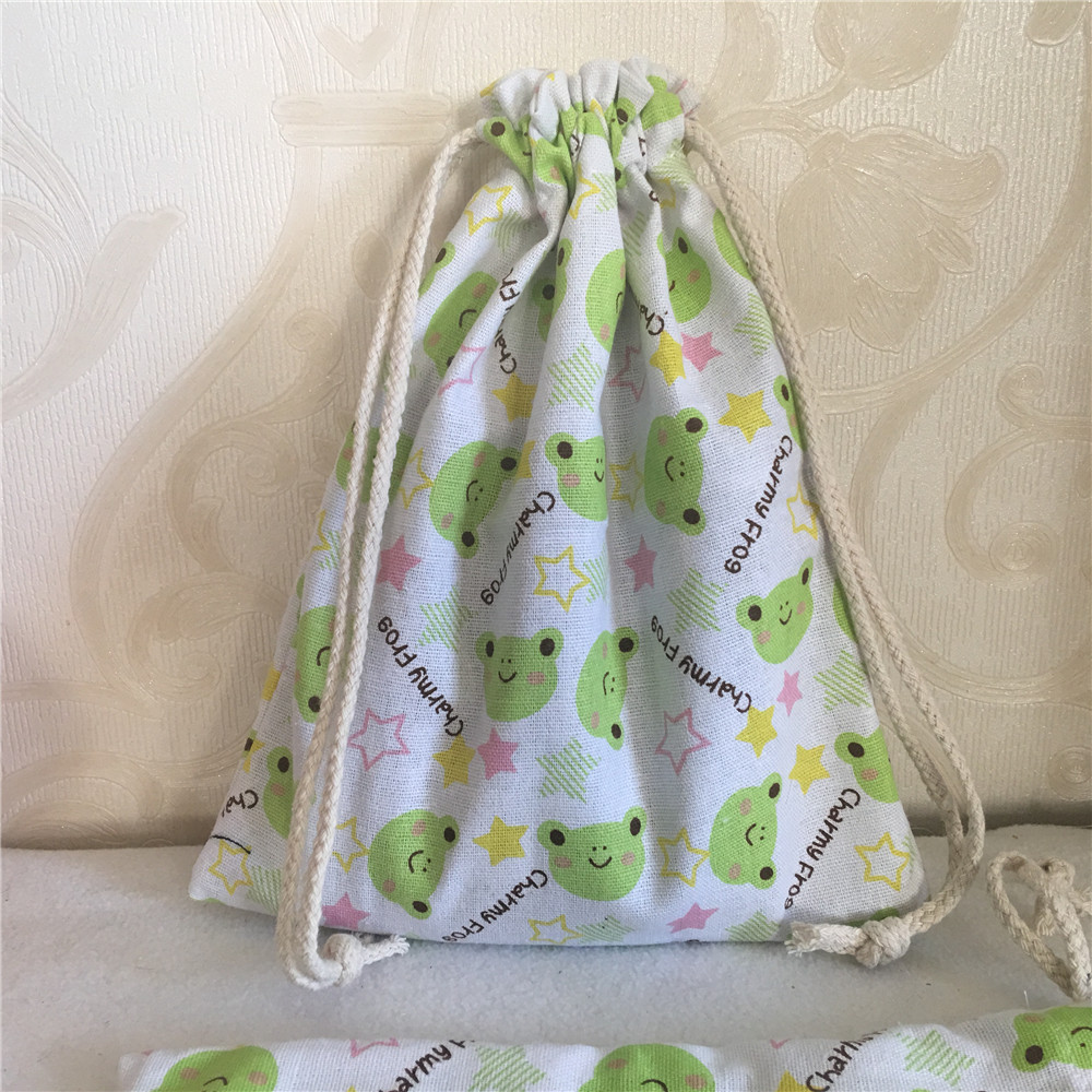 YILE 1pc Handmade Cotton Linen Drawstring Multi-purpose Pouch Gift Party Bag Charming Frog Green 8201b