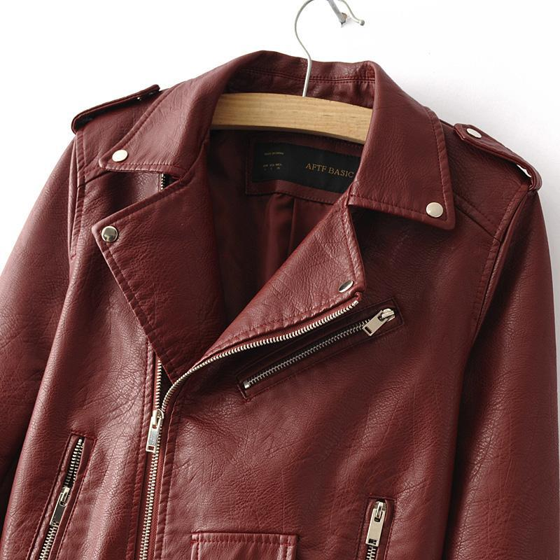 New Fashion Women Wine Red Faux Leather Jackets Lady Bomber Motorcycle Cool Outerwear Coat with Belt Hot Sale