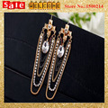 Punk Statement Vintage Imitation Pearl With Imitation Diamond Beads Metal Long Chunky Chian GoldenTassel Drop Earrings