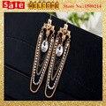 Declaración Punk Vintage imitación de la perla con cuentas de diamantes de imitación de Metal larga Chunky Chian GoldenTassel pendientes de gota