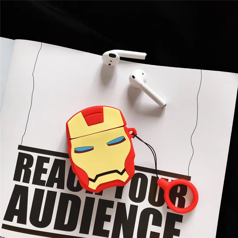 For AirPods 2 Case Cute 3D Cartoon Boy Iron Man Earphone Apple Airpods Soft Silicone Protect Cover Funda
