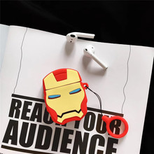 For AirPods 2 Case Cute 3D Cartoon Boy Iron Man Earphone Case For Apple Airpods Soft Silicone Protect Cover Funda