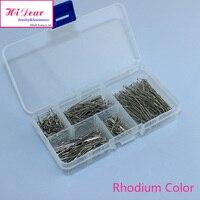 Une boîte de assorties 5 tailles Rhodium / or / argent / Bronze plaqué métal tête plate Pins Set mode bijou accessoires de bricolage