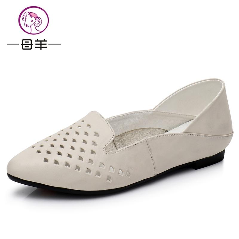 naiste sandaalid kinga Naine Ehtne nahast korter kingad mood käsitsi - Naiste kingad