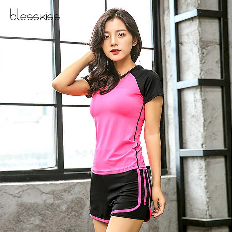 Blesskiss 2 dwuczęściowy zestaw kobiet strój sportowy do jogi do biegania koszulka na siłownie spodenki spodnie Fitness odzież Workout zestaw do jogi odzież sportowa