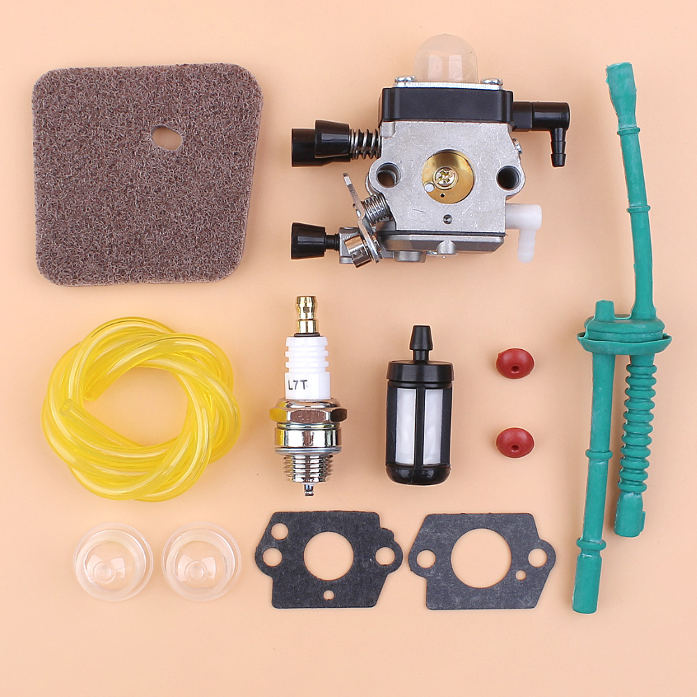<font><b>Carburetor</b></font> Air Filter Fuel Hose Check Valve Kit Fit <font><b>STIHL</b></font> <font><b>FS45</b></font> FS46 FS55 FS55R FC55 <font><b>FS38</b></font> FS55RC KM55 HL45 KM55R SP85 Zama Carb image
