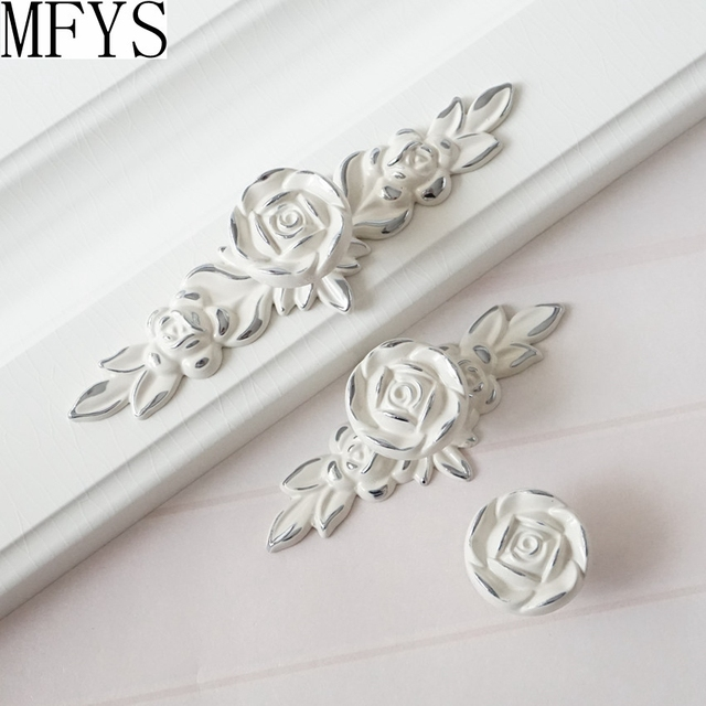 Shabby Chic Dresser Drawer Knobs Pulls Handles Creamy White Silver Rose /  Flower Kitchen Cabinet Knobs