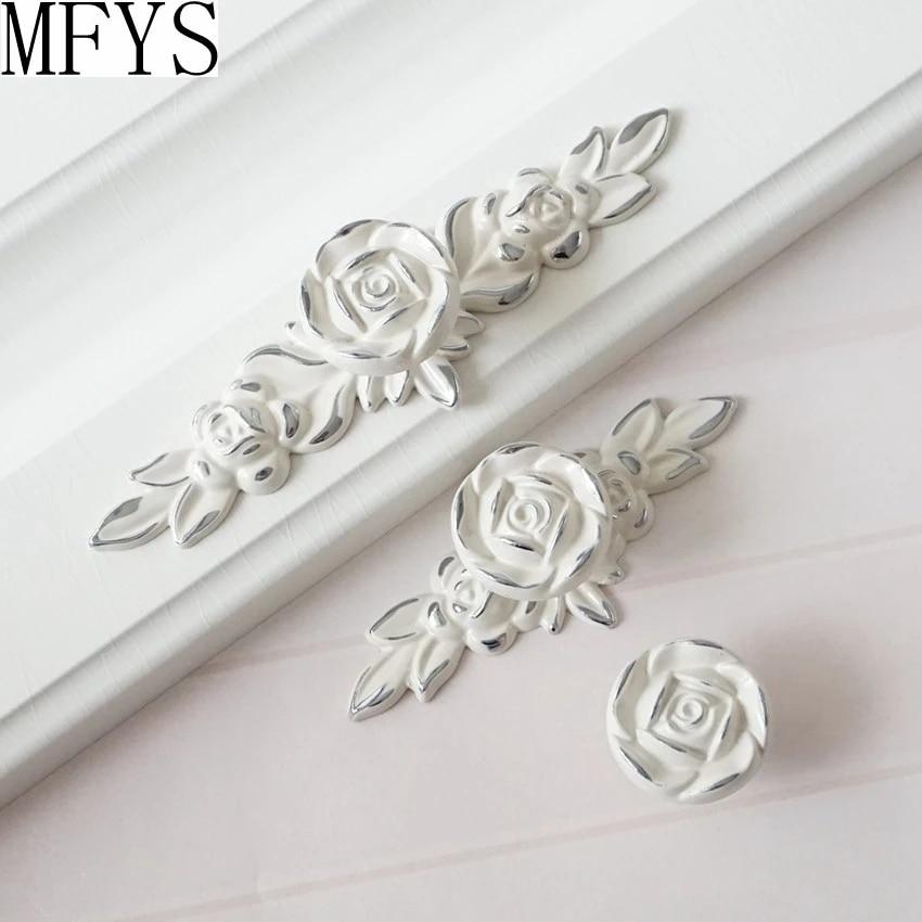Shabby Chic Dresser Drawer S Pulls Handles Creamy White Silver Rose Flower Kitchen Cabinet Pull Ornate Hardware Direct Windowcabinet Aliexpress