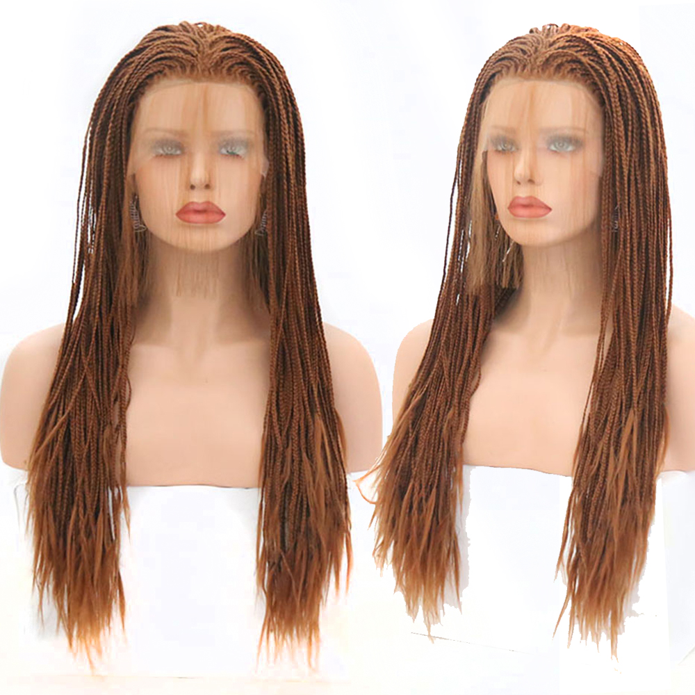 Charisma Braided Wigs Heat Resistant Hair Long Braided Box Braids Wig Synthetic Lace Front Wig with