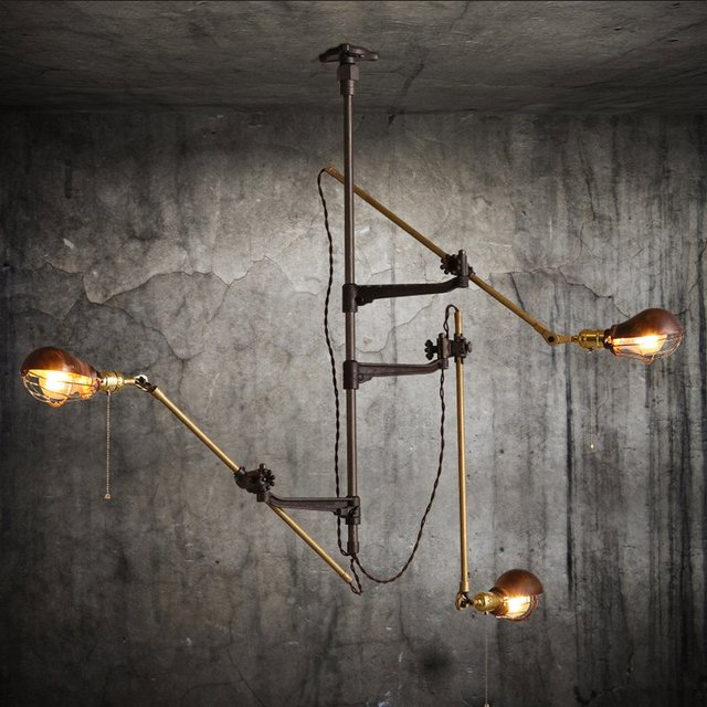 Deformable arts & crafts pendant light for Cafe Studio Retro pipe Pendant lamps E27 Rural Rustic Bar lighting restaurant lampen