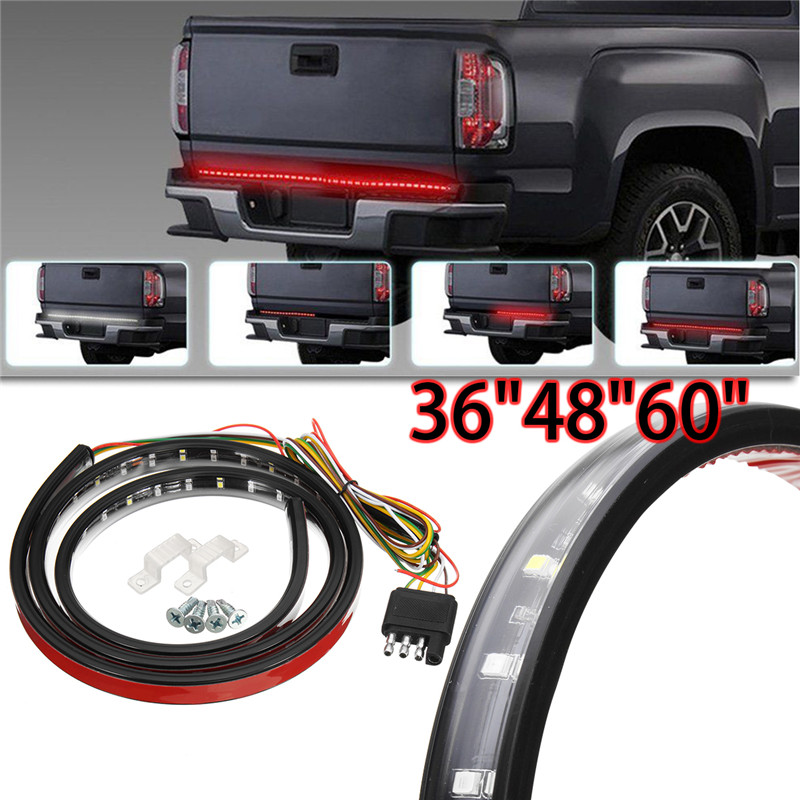 90/120/150cm Tailgate LED Light Bar Strip Red/White Flexible Trailer Rear Tail Light Strip DRL Turn Signal Light Brake Lights car tail gate signal turn brake led strip light 49 inch 72smd door light strip 12m for pick up truck ip65 waterproof 2 5w lights