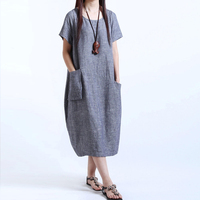 2016 Brand Large Size Women S Fashion Loose Style Cotton And Linen Dress Long Section Solid