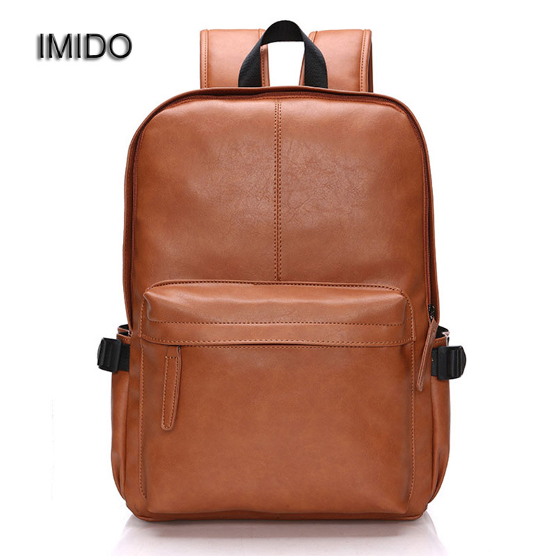 IMIDO New Vintage Backpack pu Leather Leisure Travel School Bag Laptop Backpacks Men Backbag Brown Black Blue Mochilas SLD024