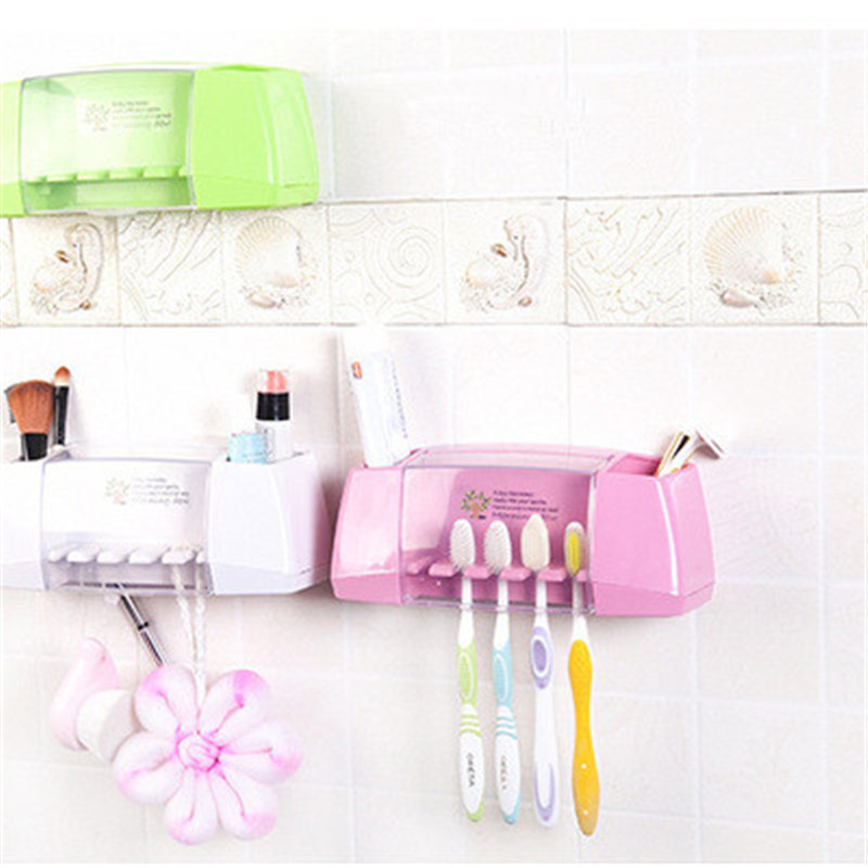 1pc Suction Hooks Toothbrush Holder Toothpaste Holder Bathroom Sets Tooth Brush Cup Container Bathroom Shelves Bath Accessories 2