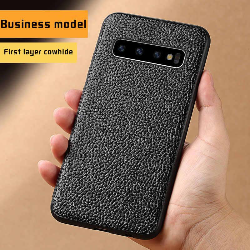 Mewah Genuine Leather Phone Case untuk Samsung Galaxy S10 S7 S8 S9 Plus A70 A50 A40 A30 A8 A7 2018 catatan 10 9 S10E S10 Plus S8 Plus S7 Edge S9 Plus Note 10 plus 9 8 A10 A20 A40 A60 J6 J4 J7 360 Penuh Pelindung