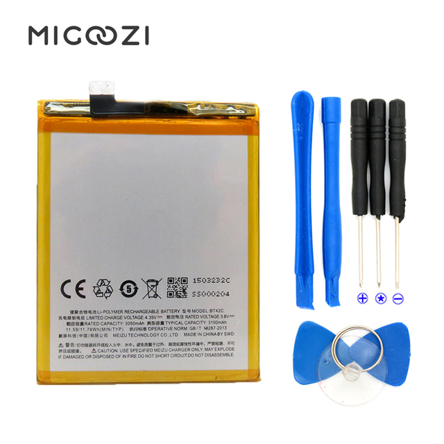 100% New For Meizu M2 Note Battery BT42C Compatible 5.5inch Meilan M2 Note Mobile Phone Batteries 3100mAh With Tool