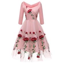 4da4b76dbc9ad Buy floral mesh dress rose and get free shipping on AliExpress.com